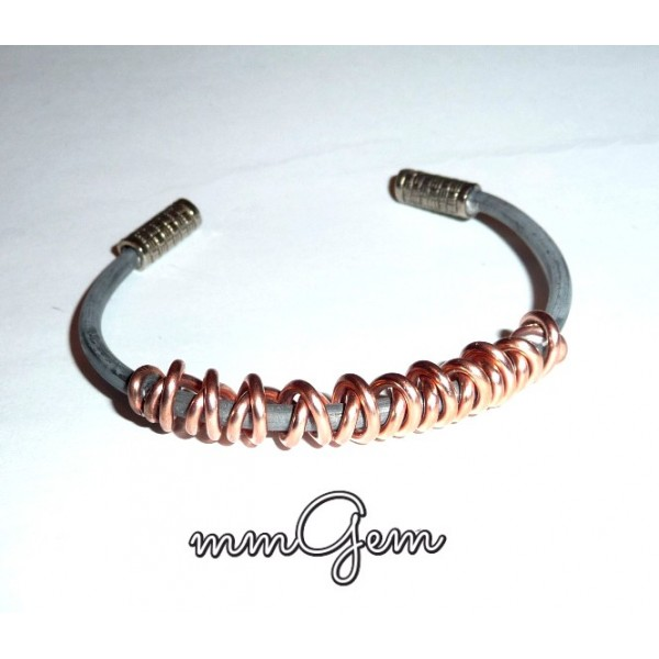 Men Copper Bangle, Silver Copper Bangle