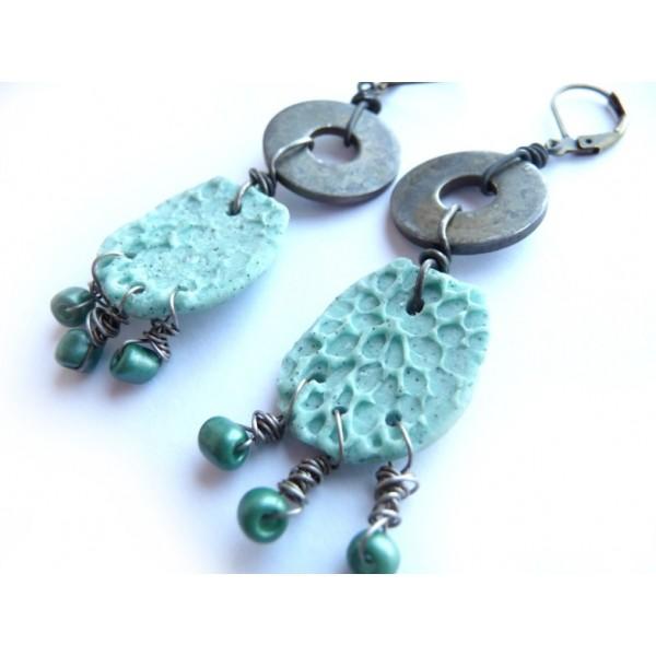 Ethnic Earrings, Primitive Earrings, Boho Earrings, Turquoise Earrings, Blue Earrings, Blue Green Earrings,