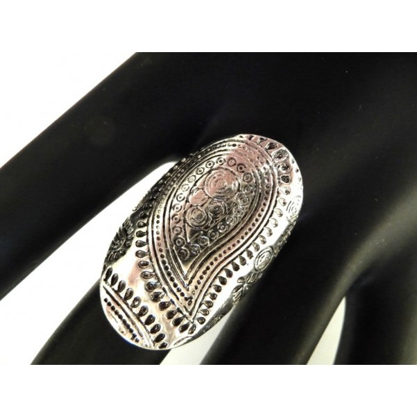 Boho Ring, Knuckle ring, Shield ring, Long Ring, Silver Ring, Black Silver Ring, Shield Ring, Armor Ring,