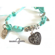 Turquoise Friendship Shamballa Bracelet with Heart Pendant
