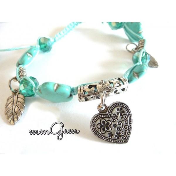 Turquoise Friendship Shamballa Bracelet with Heart Pendant