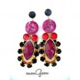 Red Burgundy Earrings