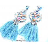 One of A Kind Blue Statement Earrings