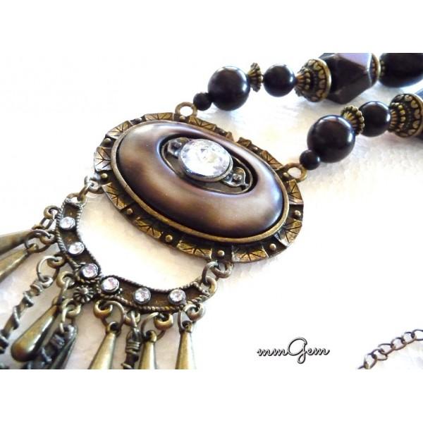 Big Boho Necklace, Brown Necklace