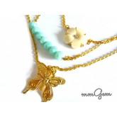 Multilayered Necklace, Boho Necklace, Gold Turquoise Necklace
