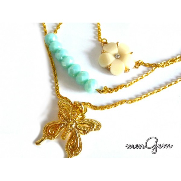 Multilayered Necklace, Boho Necklace, Gold Turquoise Necklace