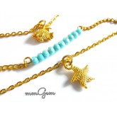Gold Turquoise Necklace, Multilayered Boho Necklace, Fish Star Pendant