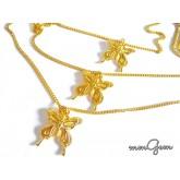 Multilayered Boho Necklace, Butterfly Pendant