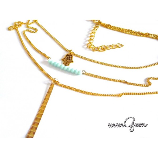Gold Hamza Necklace, 3 Layer Necklace,